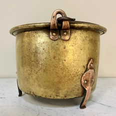 18th Century Brass & Copper Hand-Forged Stock Pot