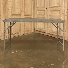 Antique Wooden Top Metal Table