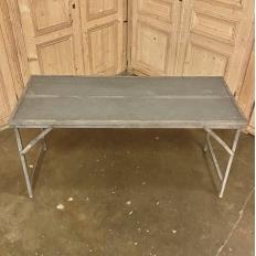 Antique Wooden Top Metal Table
