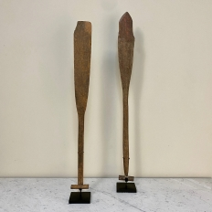 Pair 19th Century Canoe Paddles on Display Stands