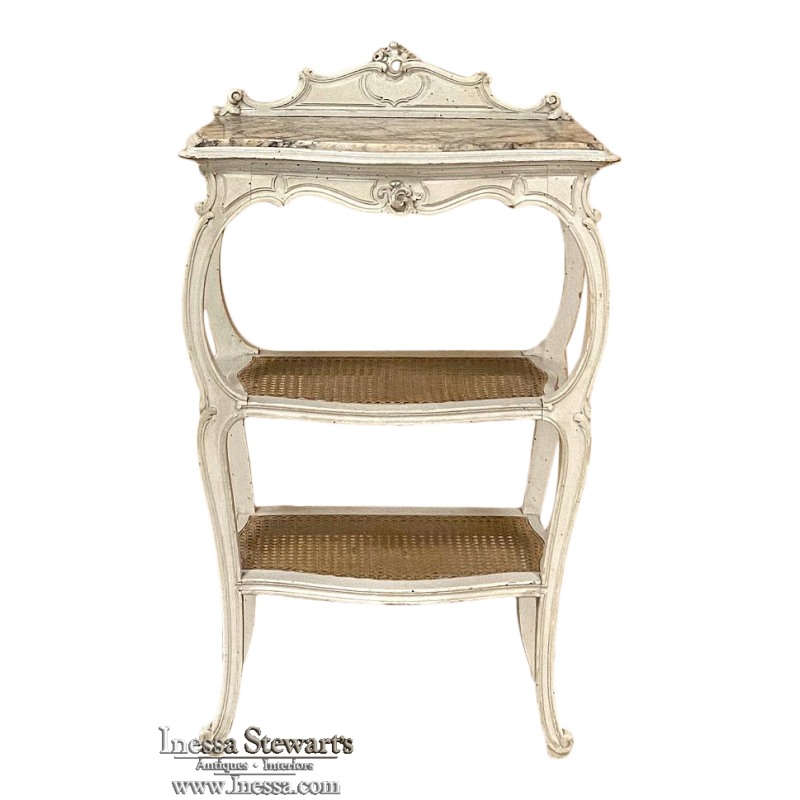 19th Century French Louis XV Marble Top Console ~ Etagere End Table