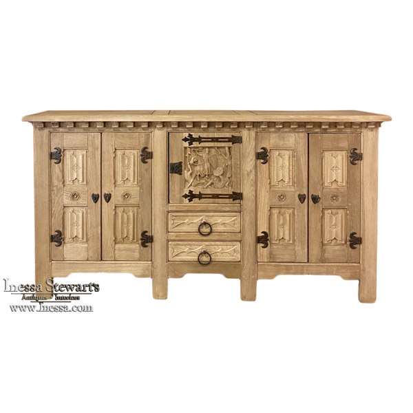 Antique Gothic Rustic Stripped Buffet