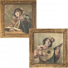 Pair 19th Century Italian Sucre de Herb Tapestries