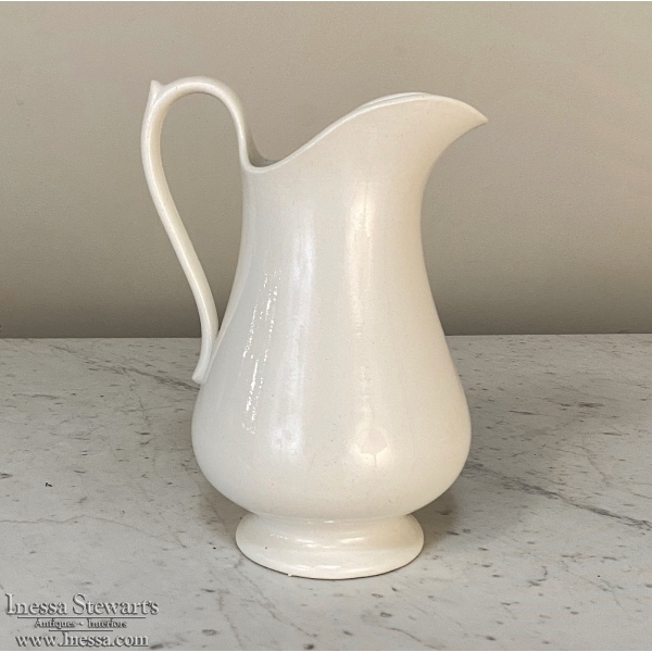 White Ironstone Pitcher by Maestricht of Holland