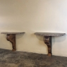 Pair 19th Century French Louis XIV Walnut Marble Top Consoles