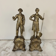 Pair Antique Spelter Statues of Provincial Couple