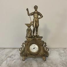 Art Nouveau Spelter Statue of Ironworker Mantel Clock