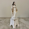 19th Century Painted Porcelain Madonna in Original Hand-Crafted Oak Shrine