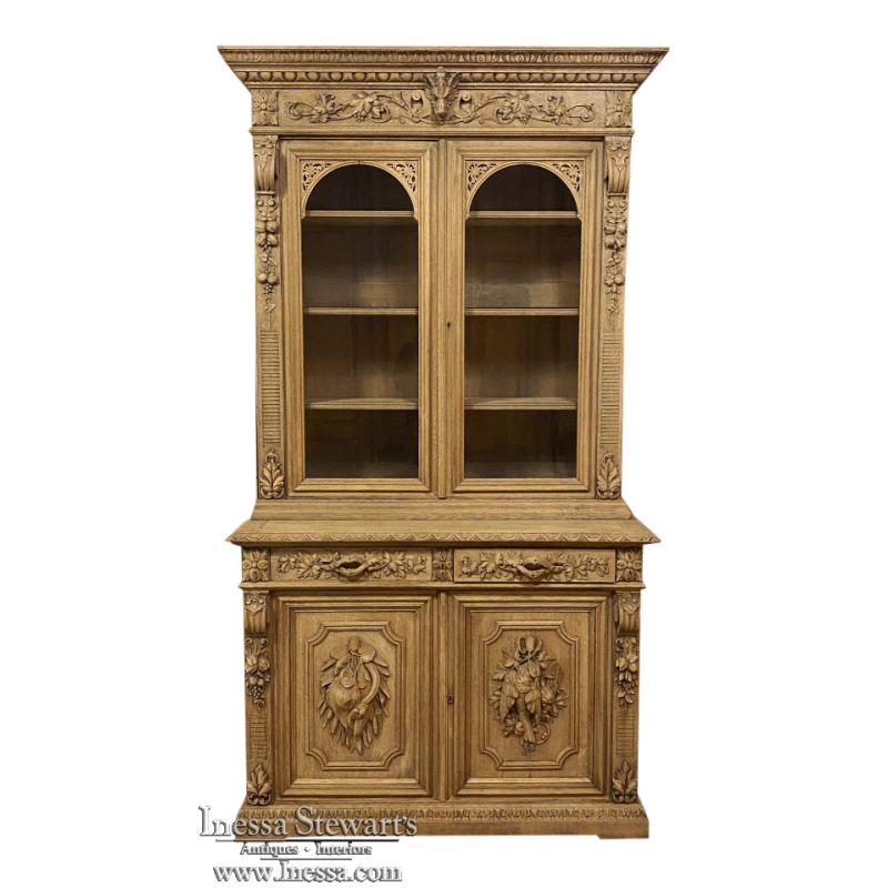 19th Century French Renaissance Stripped Hunt Bookcase