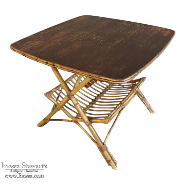 Mid-Century Rattan and Bamboo Table with Magazine Rack