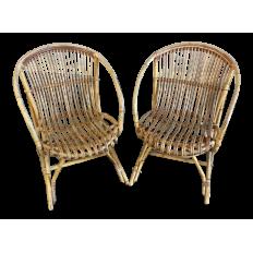 Pair of Mid-Century Rattan Armchairs