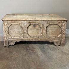 18th Century Dutch Hand Carved Stripped Oak Trunk