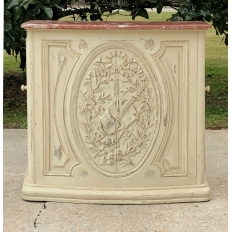 19th Century French Louis XVI Marble Top Painted Counter ~ Bar