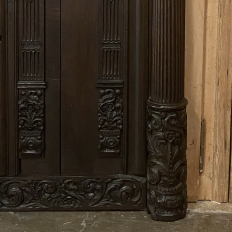 17th Century French Hand-Carved Cabinet Door with Half-Column Pilasters