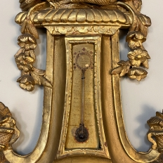 18th Century French Louis XVI Period Giltwood Wall Barometer