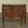 19th Century French Louis XV Marble Top Marquetry Bombe Commode
