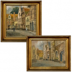 Pair Framed Gouache Paintings by Jef Clerens (1875-)