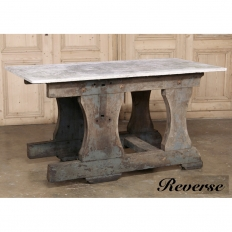 Rustic Industrial authentic work table with cast stone top