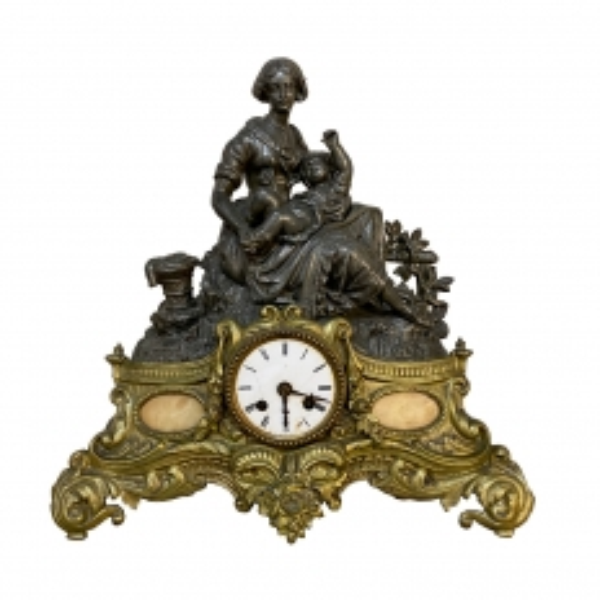 19th Century French Louis XVI Mantel Clock Sculpture