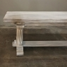 Antique Rustic Gothic Whitewashed Oak Dining Table