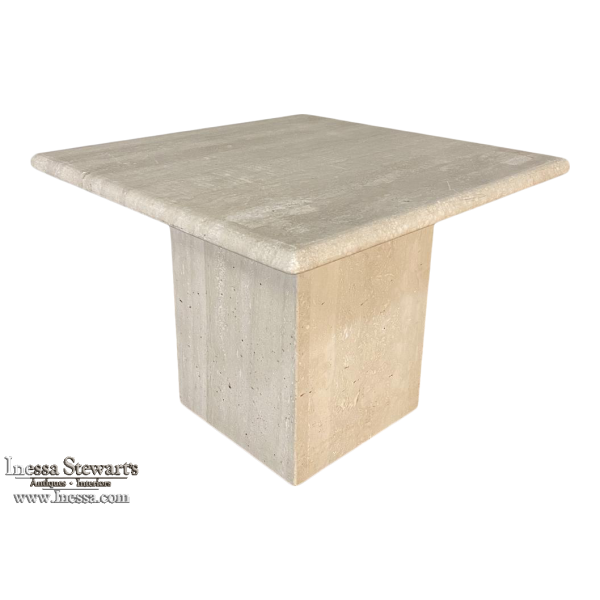 Mid-Century Modern Travertine Square Coffee Table ~ Side Table