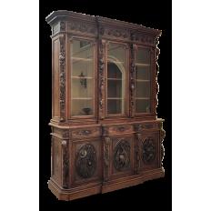 Monumental 19th Century French Renaissance Hunt Bookcase