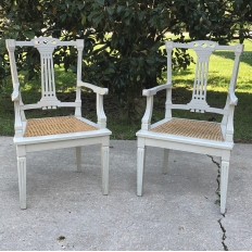 Pair of 19th Century Swedish Louis XVI Painted & Caned Armchairs