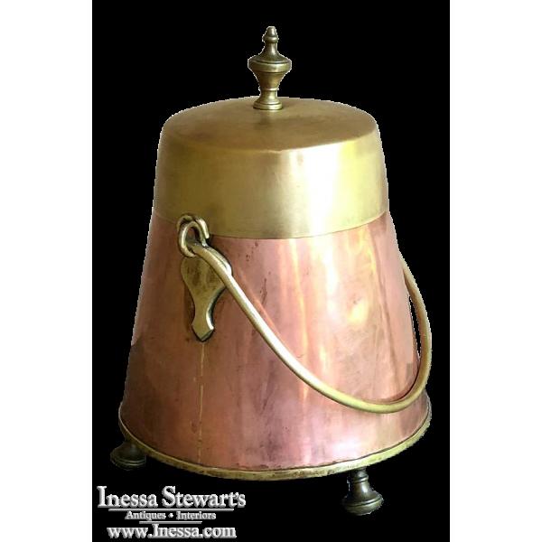 19th Century Copper & Brass Kindling Bucket