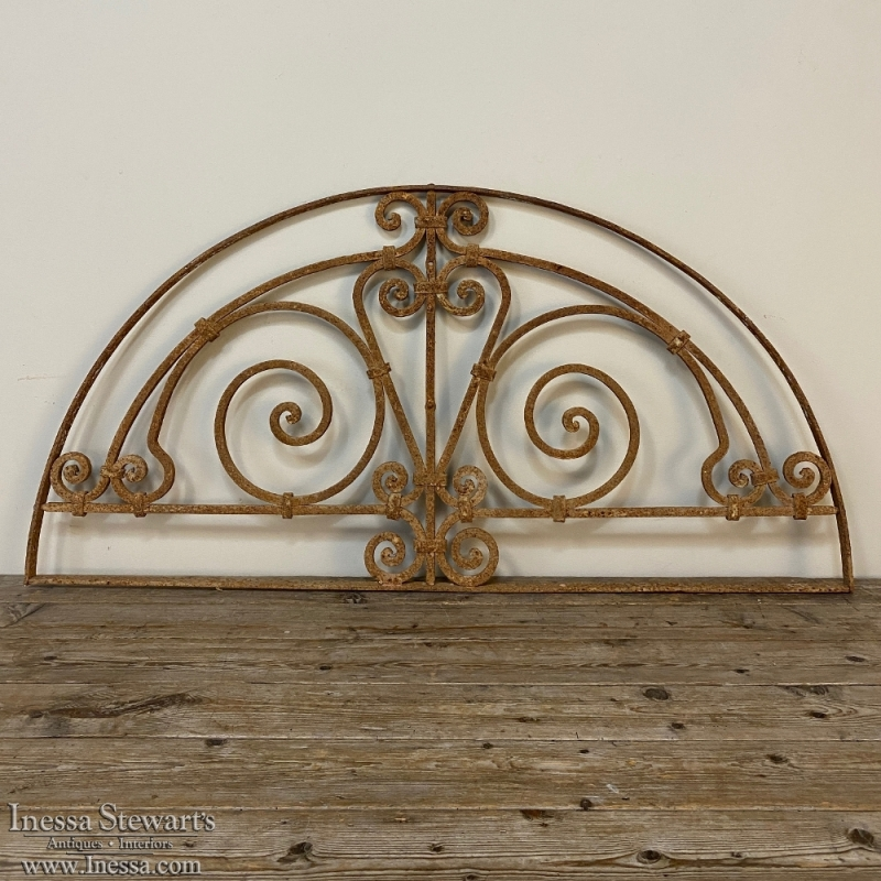 Antique Hand-Forged Wrought Iron Demilune Transom