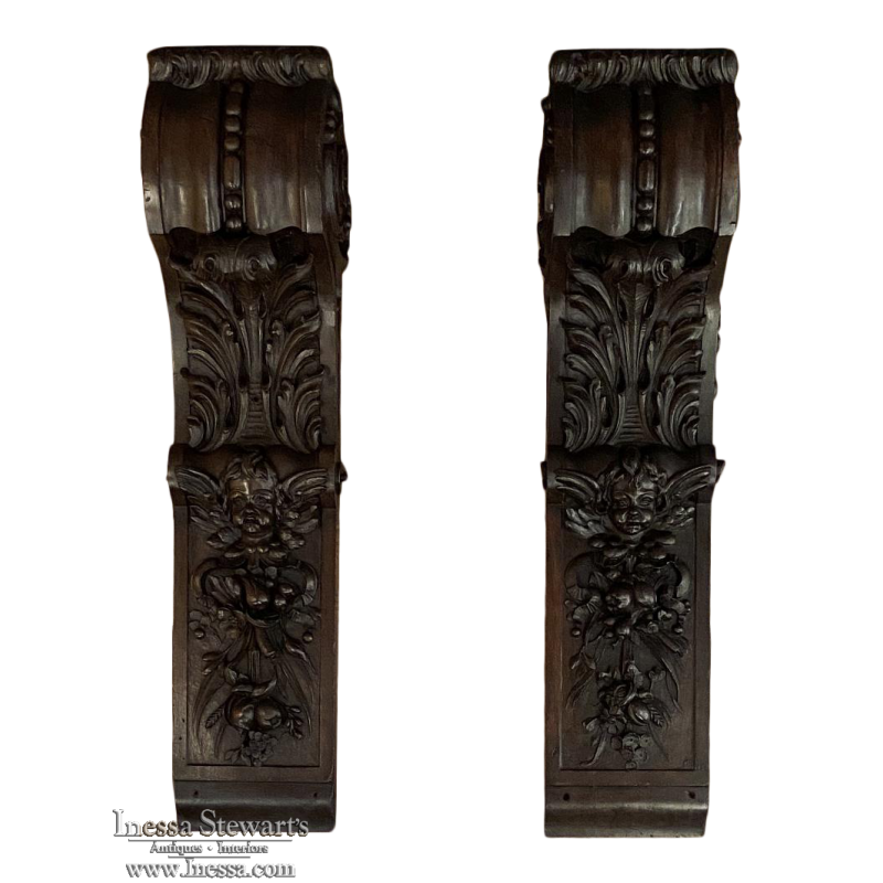 Pair 19th Century French Louis XIV Hand-Carved Pilasters
