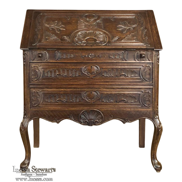 Antique Country French Regence Style Secretary