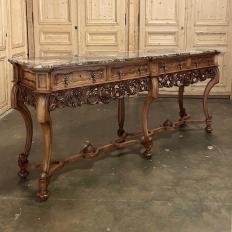 Antique Grand Italian Baroque Marble Top Console ~ Sofa Table
