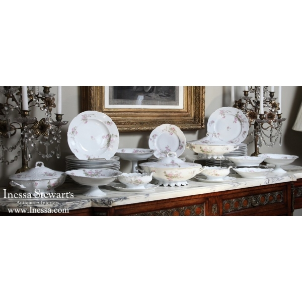 Grand Floral Design Porcelain China with 58 Piece set by Habsburg, Austria