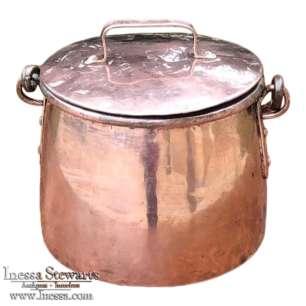 19th Century French Lidded Copper Stock Pot