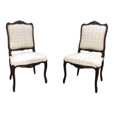 Pair 19th Century French Regence Walnut Armchairs ~ Fauteuils