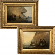 Pair 19th Century Framed Oil Paintings on Board ~ French School