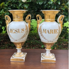 PAIR Early 19th Century French Vieux Paris Hand-Painted Porcelain Vases