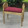 Antique French Louis XVI Gilded Caned Armbench