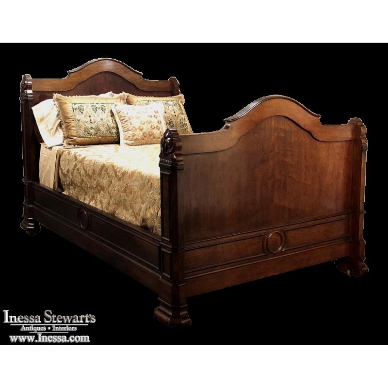19th Century French Napoleon III Mahogany Bed