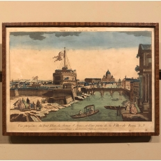 19th Century Framed Hand-Colored Lithograph