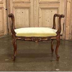 19th Century French Louis XV Walnut Armbench