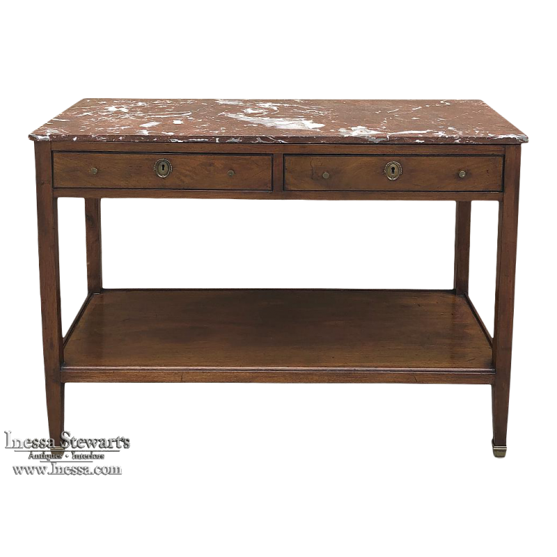 19th Century French Directoire Marble Top Low Buffet
