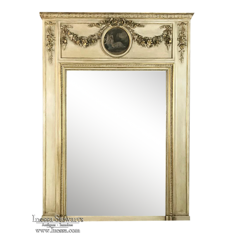 19th Century French Neoclassical Painted Trumeau ca. 1860