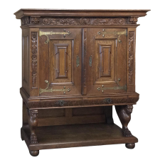 19th Century Dutch Hand Carved Renaissance Raised Cabinet