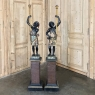 Pair 19th Century Hand-Painted Blackamoors with Pedestals