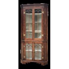 19th Century French Neoclassical Walnut Corner Display Cabinet