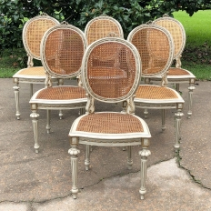 Set of 6 Antique French Louis XVI Painted & Caned Dining Chairs