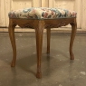 Antique Country French Carved Footstool with Tapestry