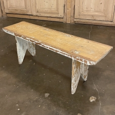 19th Century Swedish Rustic Bench with Distressed Painted Finish