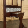 Antique Arts & Crafts Mahogany Hall Tree with Ceramic Painted Tiles
